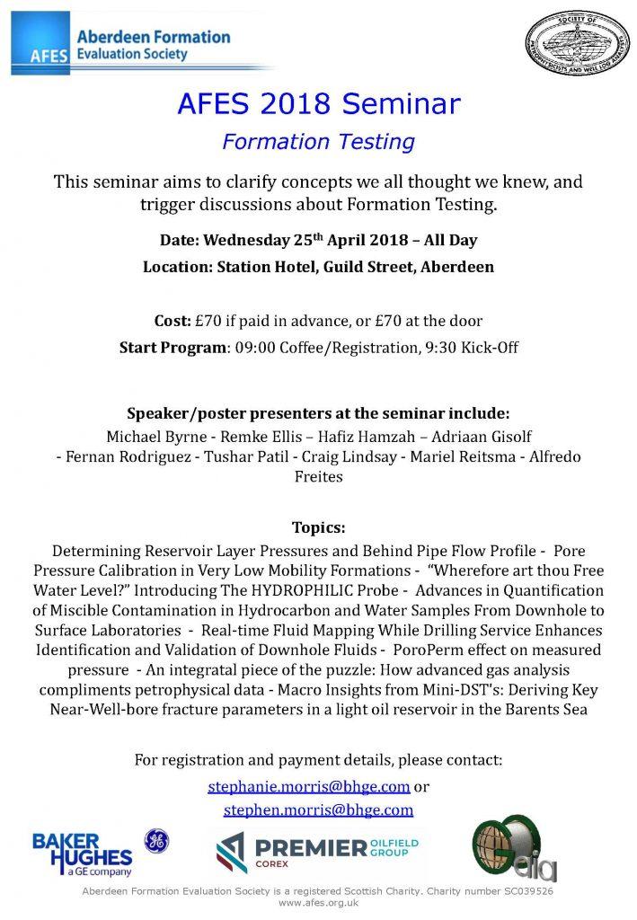 AFES 2018 Seminar – Formation Testing