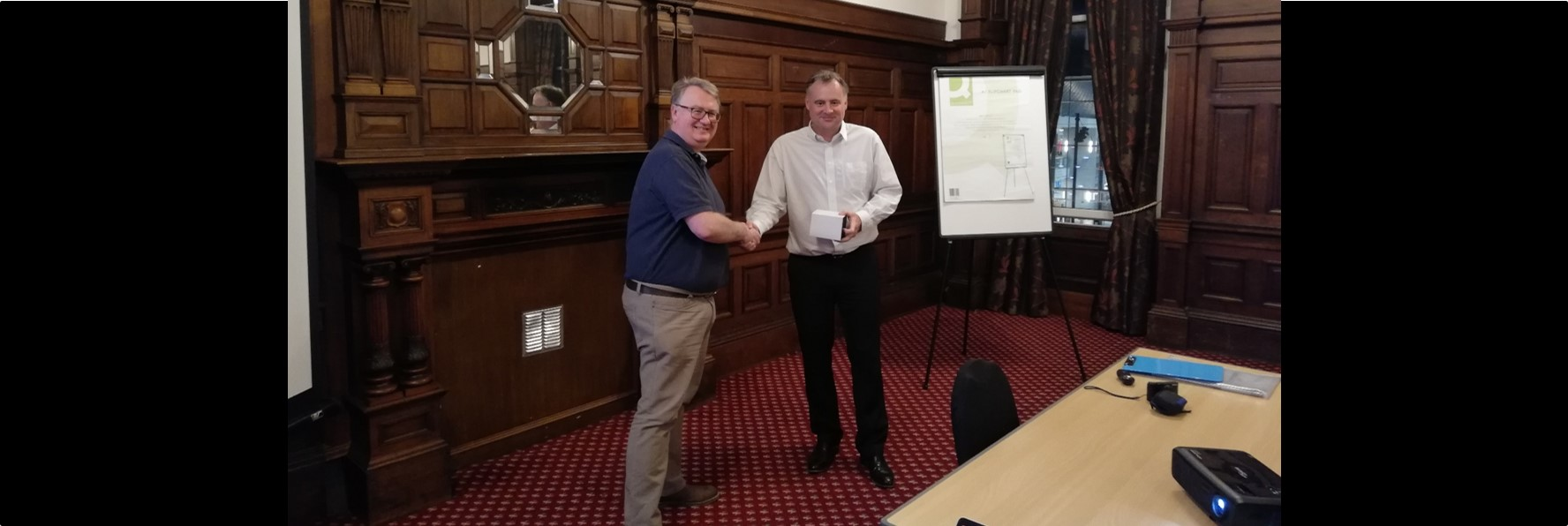 March 2019 monthly AFES meeting (Neil Cardy left, Stephen Morris right)
