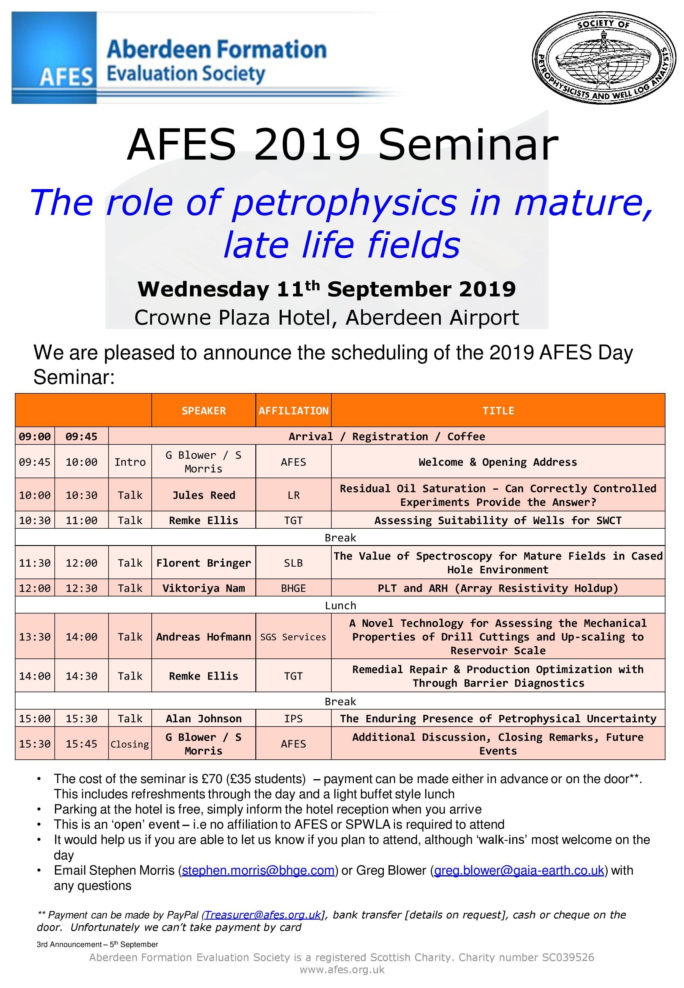 AFES 2019 Seminar Schedule